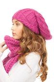 Kış şapkalı güzel kadın — Stok fotoğraf