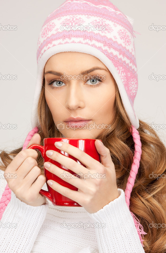Picture of beautiful woman with red mug — Stock Photo #4311690