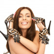 Lovely woman with leopard shoes - Stock Photo