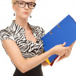 Businesswoman with folders — Stock Photo #4363618