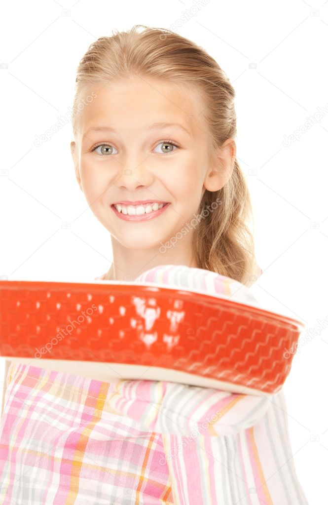 Bright picture of cooking girl over white — Stock Photo #4384808
