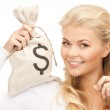 Woman with dollar signed bag — Stock Photo