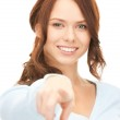 Businesswoman pointing her finger — Stock Photo #4437237