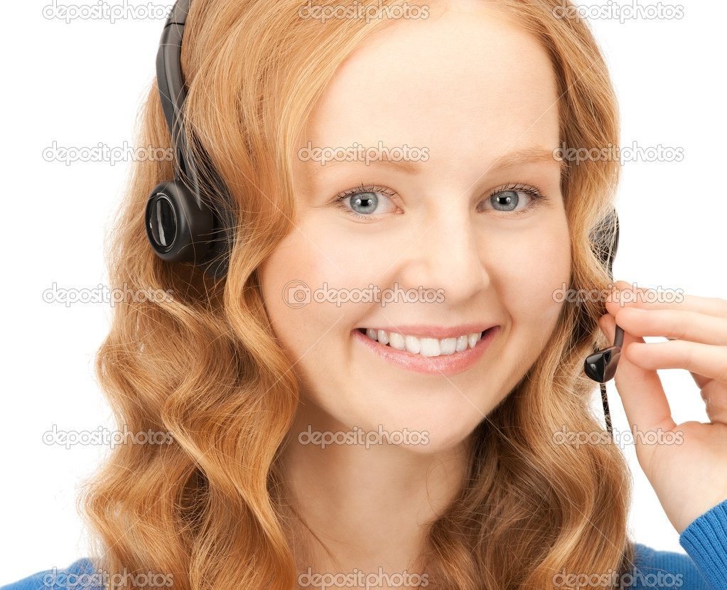 Bright picture of friendly female helpline operator — Stock Photo #4437218