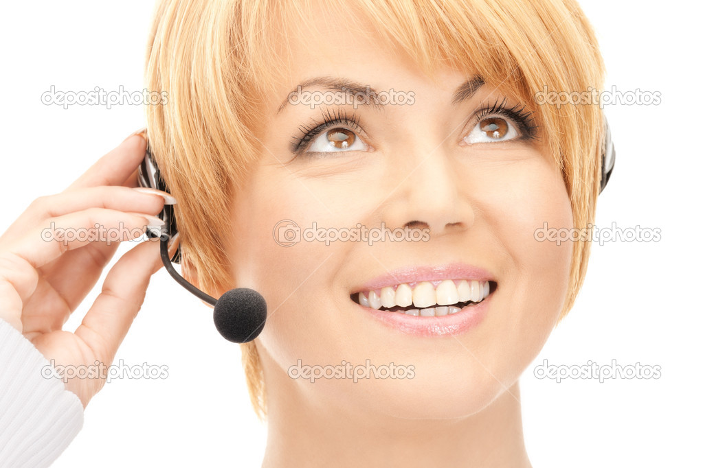 Bright picture of friendly female helpline operator — Stock Photo #4437250