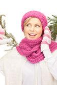冬の帽子で美しい女性 — ストック写真