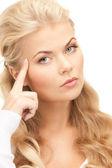 Pensive businesswoman over white — Stock Photo