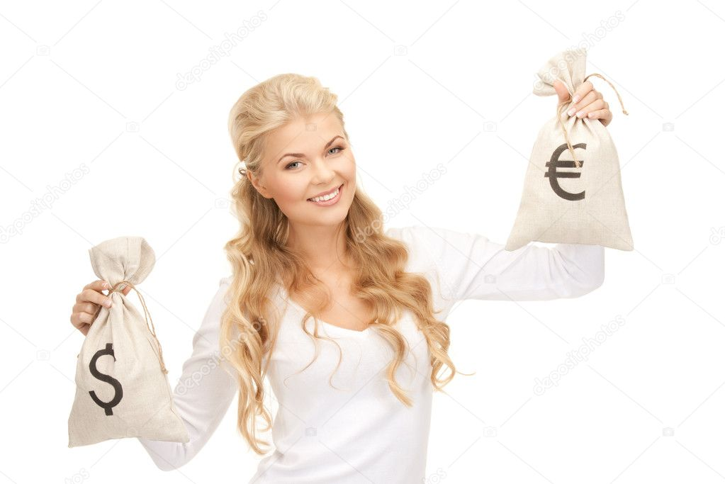 Picture of woman with euro and dollar bags  Stock Photo #4931110
