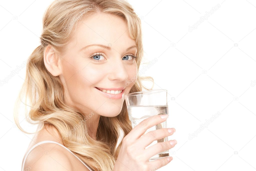 Beautiful woman with glass of water over white  Stock Photo #4955608