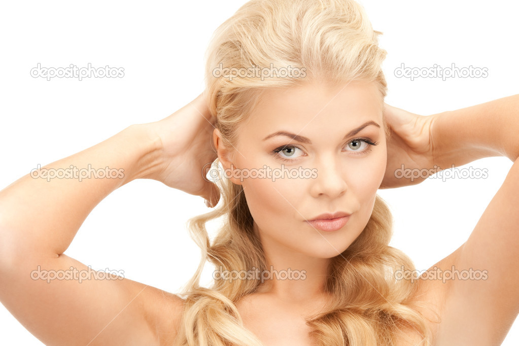 Bright picture of lovely woman over white — Stock Photo #4967334