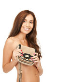 Mujer encantadora con pequeño bolso — Foto de Stock