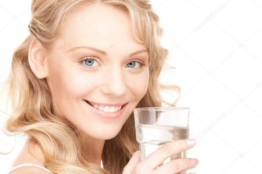 Beautiful woman with glass of water over white — Stock Photo #5023405