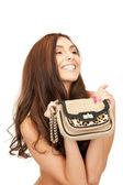 Küçük çanta ile güzel kadın — Stok fotoğraf