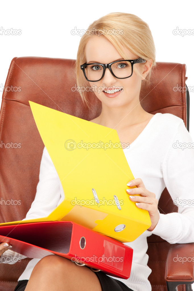 Picture of young businesswoman with folders sitting in chair	  — Stock Photo #5133362