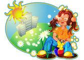 女孩和太阳 — 图库矢量图片