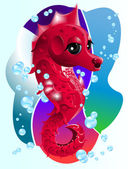 Ocean.Sea_Horse.Cartoon. — Stockvector