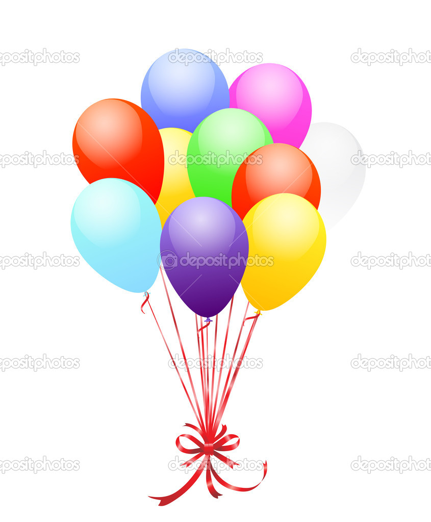 Illustration of bunch of vibrant balloons over white  Stock Vector #3375553