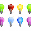 Colored light bulbs — Imagen vectorial