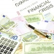 Dollar, euro, lat banknotes, calculator, pen — Stock Photo