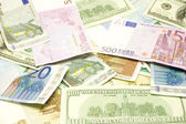 Dollar, euro, lat banknotes — Stock Photo