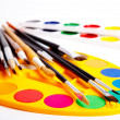 Stock Photo: Brushes and paints