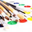 Brushes and paints - Stok fotoğraf