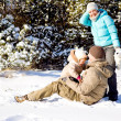 Family in snow — Stock Photo