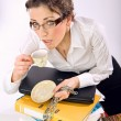 Attractive overworked secretary — Foto de Stock