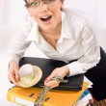 atraktivní přepracovaní sekretářka — Stock fotografie