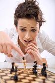 Bir oyunu kaybeden genç bir satranç oyuncusu — Stok fotoğraf