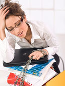 Attractive overworked secretary — Stock Photo