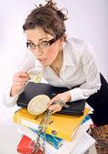 Attractive overworked secretary — Stock Photo