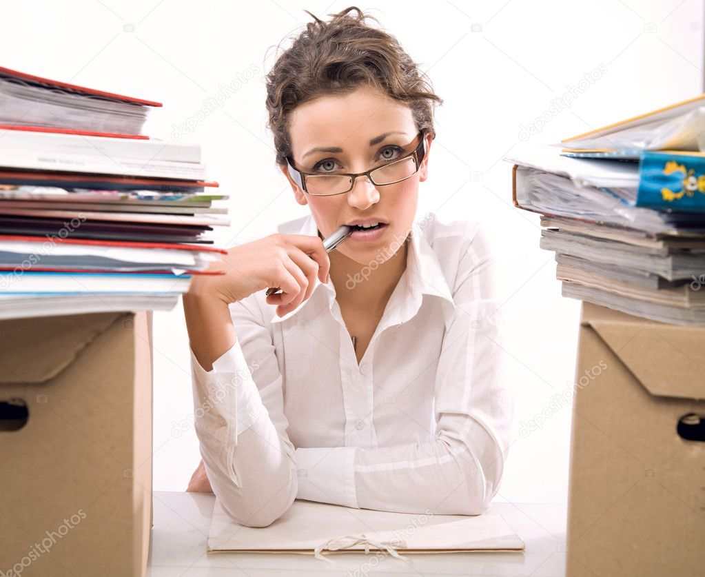 Young businesswoman in stress — Stock Photo #4267476