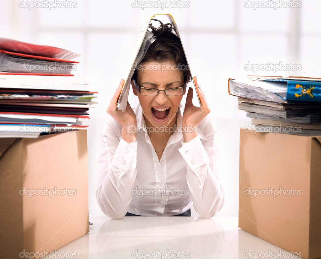 Young businesswoman in stress — Stock Photo #4267477