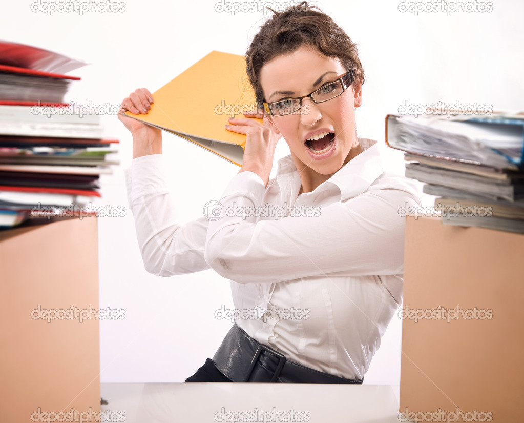 Young businesswoman in stress — Stock Photo #4267479