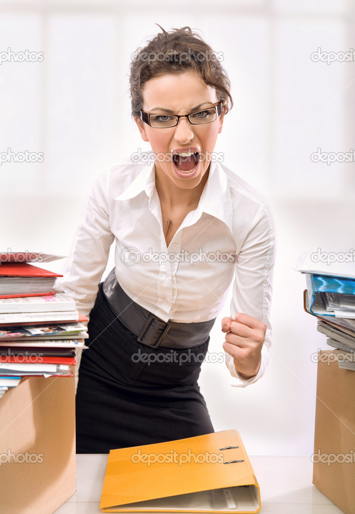 Young businesswoman in stress  Stock Photo #4267480