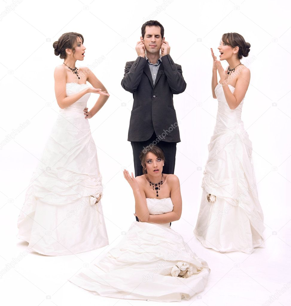 Stock Photo:3 brides and 1 groom — Stock Photo #4288130