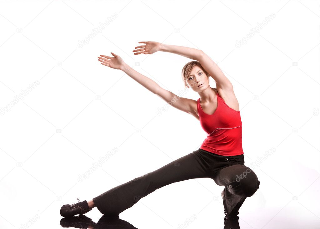 Young woman doing fitness exercise   Stock Photo #4288140