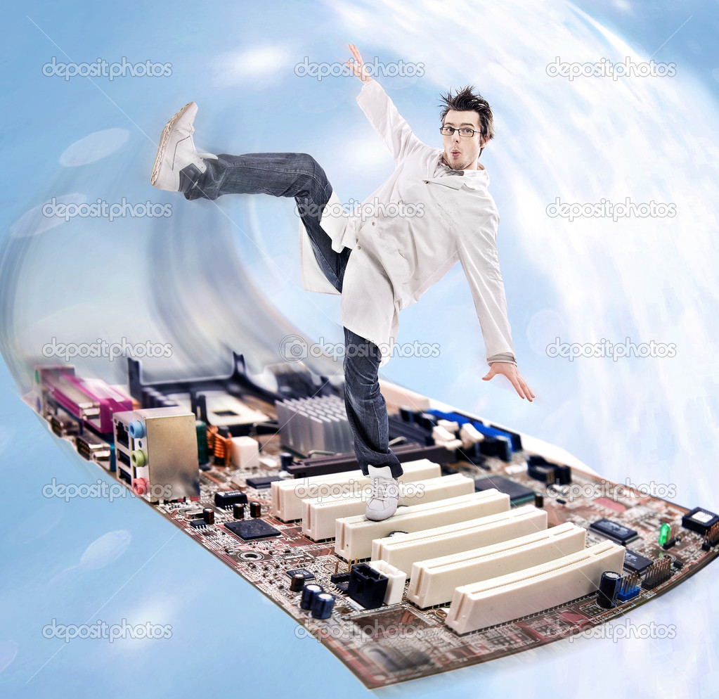Funny looking madman scientist on a motherboard — Stock Photo #4288184