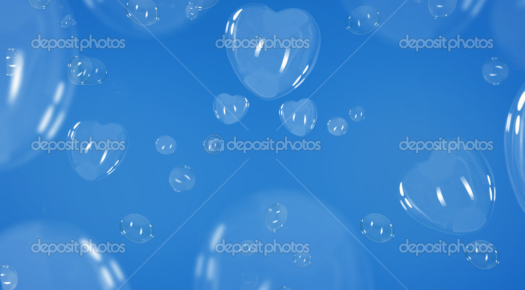 Heart shaped soap bubbles over blue background  — Stock Photo #4288190