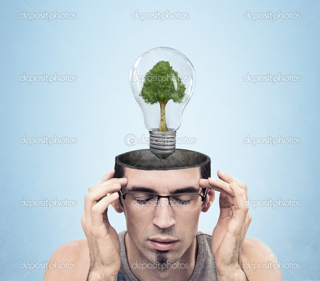 Open minded man with green energy symbol  — Stock Photo #4288245