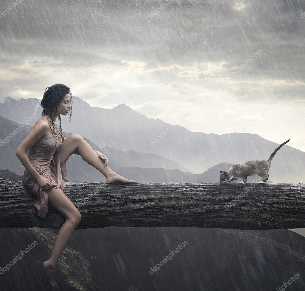 Young woman and cat on a trunk  — Stock Photo #4292694