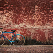 Old retro bicycle over grungy wall — Photo