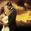 Stok fotoğraf: Fine art photo of attractive wedding couple