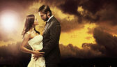 Fine art photo of an attractive wedding couple — Stok fotoğraf
