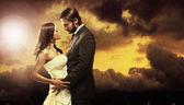 Sztuki zdjęcie para ślub atrakcyjny — Zdjęcie stockowe