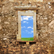 Conceptual image of an ancient brick wall - Stock Photo
