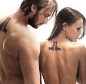 Foto di moda stile di una coppia attraente — Foto Stock
