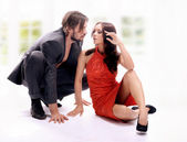 Glamour style photo of handsome couple — Stock Photo