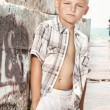 Young boy posing on the beach — Stock Photo #4489882